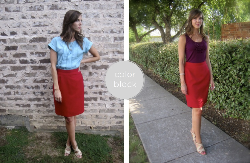 red skirt colorblock